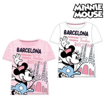 Barn T-shirt med kortärm Barcelona Minnie Mouse Vit,10 år