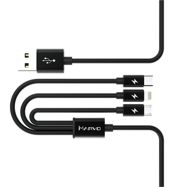 Charging 3 in 1 Lightning Cable Black 1m
