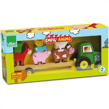 Tractor and trailer with animals stacking game