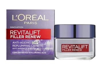 L'Oreal Revitalift Filler Anti Ageing Day Cream Replumping 50ml contains Hyaluronic Acid