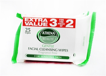 Athena Face Wipes Sensitive 25'