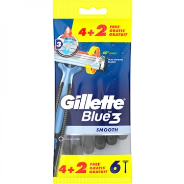 Gillette Disposable Razor Blue 3 Smooth 4+2 Gratis