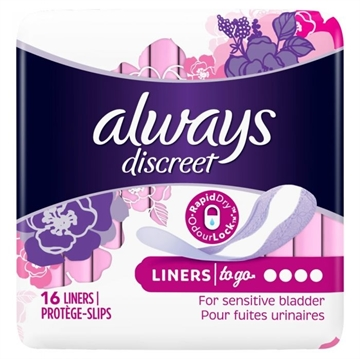 Always Discreet Liners To Go For Sensitive Bladder 16'S