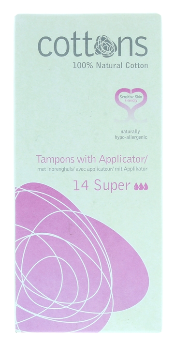 Cottons Tampons With Applicator Super 14'S
