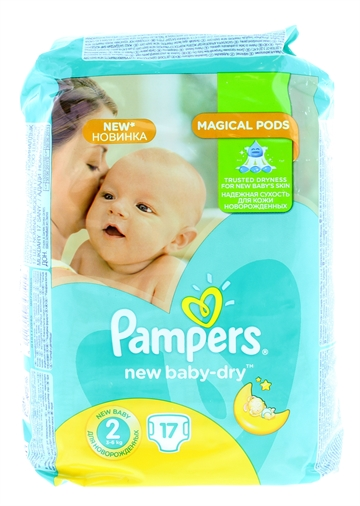 Pampers New Baby Dry Nappies Size 2 17'S