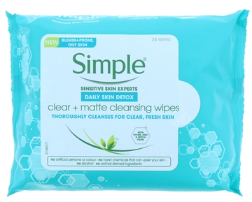 SIMPLE FACIAL WIPES CLEAR & MATTE CLEANSING WIPES 25'S